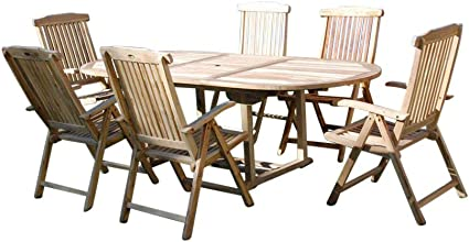 Amazon De Sam 7 Tlg Gartengruppe Aruba Teak Holz Gartenmobel Sitzgruppe 1 X Tisch 6 X Hochlehner