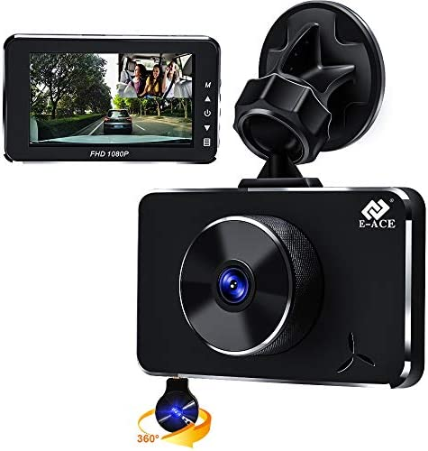 E-ACE Dual Dash Cam for Cars 1080P Front and Cabin Inside Cameras 3 Inch LCD Screen 170 Wide Angle Dashboard Camera Recorder with G-Sensor and Loop Recording