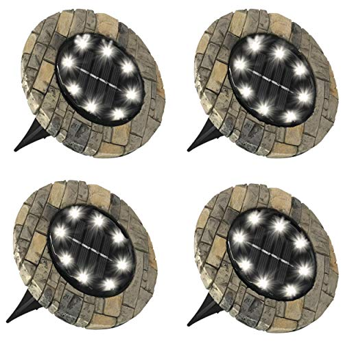 Bell + Howell Disk Lights Slate - Heavy Duty Outdoor Solar Pathway Lights - 8 LED, Auto On/Off, Water Resistant, with Included Stakes, for Garden, Yard, Patio and Lawn -As Seen on TV