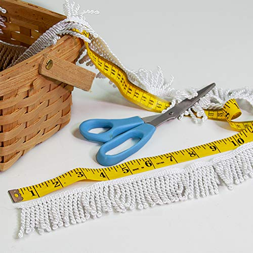 (Vispronet Decorative Flag Fringe - 1 Yard of 2in Bullion Fringe Made with 100% Rayon Material - White Fringe)