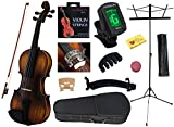 YMC 4/4 FullSize Handcrafted Solid Wood Student Violin Starter Kits(w/Hard Case, Bow, Music Stand, Elec. Tuner, Bow Collimator, Shoulder Rest, Mute, Extra Strings, Polish Cloth, Rosin) Natural Antique