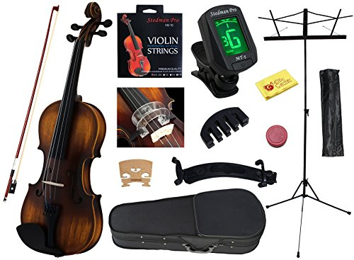 YMC 4/4 FullSize Handcrafted Solid Wood Student Violin Starter Kits(w/Hard Case, Bow, Music Stand, Elec. Tuner, Bow Collimator, Shoulder Rest, Mute, Extra Strings, Polish Cloth, Rosin) Natural Antique by YMC