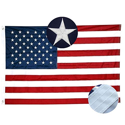 - Xibaeu American Flag 3x5 ft- Durable 210D Nylon US Flag Outdoor Made in USA with Sewn Stripes, Embroidered Stars and Brass Grommets