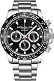 Stuhrling Original Mens Sport Chronograph Watch - Stainless Steel Brushed Matte Bracelet, 891 Formula'i' Watches Collection (Black)