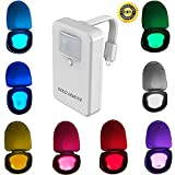 Toilet Night Light , Gold Armour 16-Color Motion Sensor LED Toilet Night Light, 5-Stage Dimmer, Light Detection, Great for Potty Training LED Toilet Light
