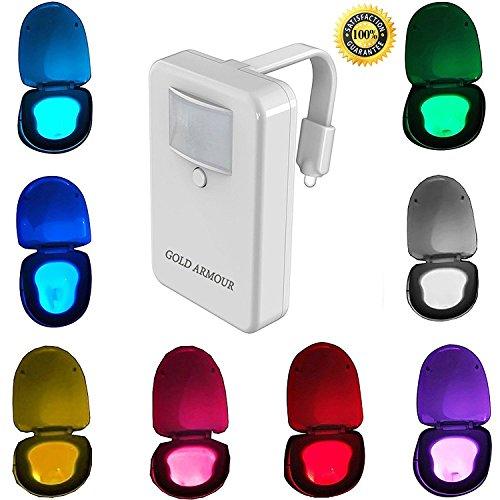 Toilet Night Light , Gold Armour Motion Activated Toilet Night Light Toilet Nightlight, Great for Potty Training, 8-Color Motion Sensor LED Toilet Light