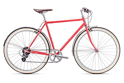 6KU Euclid Mens 8 Speed Hybrid Bike, Urban Steel Commuter Bicycle – R – l, Lincoln Red, 58cm/Large Review