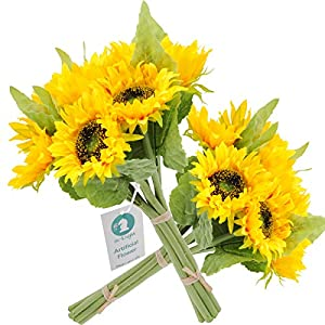 cn-Knight Artificial Flowers 2pcs 14'' Sunflower Bouquets with 7pcs Silk Flowers for Wedding Bridal Bouquet Bridesmaid Home Decor Housewarming Gift Centerpieces Office Baby Shower Reception(Yellow) 3