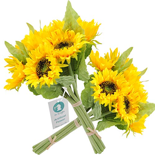 cn-Knight Artificial Flowers 2pcs 14'' Sunflower Bouquets with 7pcs Silk Flowers for Wedding Bridal Bouquet Bridesmaid Home Decor Housewarming Gift Centerpieces Office Baby Shower ()