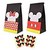 Mickey Minnie Goodie Candy Treat Bags Birthday Party Favor Supplies Set of 24,with Thank You Stickers