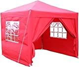 Airwave 2.5x2.5mtr Pop Up Waterproof Gazebo in Red with 2 WindBars and 4 Leg Weight Bags