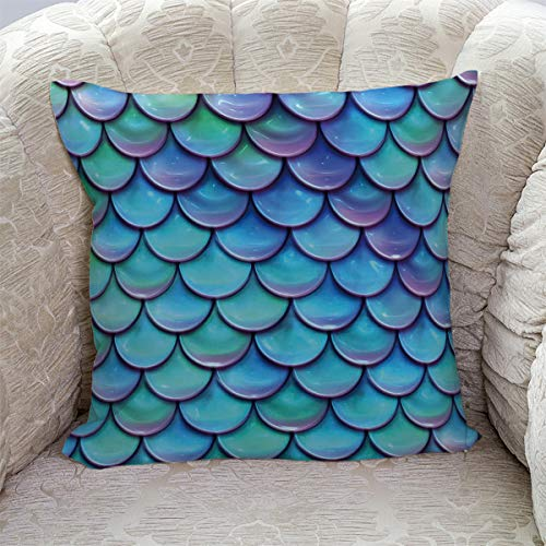 """Roses Garden Decorative Throw Pillow Cover Mermaid Teal Fish Scale Pattern Pillow Case Square Cushion Cover Super Soft Brushed Fabric Pillowcase for Home Couch Sofa Bed, 16"""" x 16"""" from Roses Garden"""