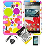 4 items Combo: ITUFFY (TM) LCD Screen Protector Film + Mini Stylus Pen + Case Opener + Blue Green Orange Purple Polka Red Yellow Colorful Dots Design Rubberized Hard Plastic + Soft Rubber TPU Skin Dual Layer Tough Hybrid Case for Boost Mobile / US Cellular LG Optimus F7 US780 LG870