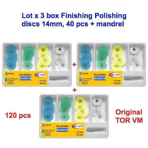 3x40pcs Dental Finishing Polishing discs 14 mm SofLex type+ mandrel Tor VM 1.071