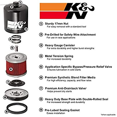 K&N KN-204 Motorcycle/Powersports High Performance Oil Filter Black, 2 Pack: Automotive
