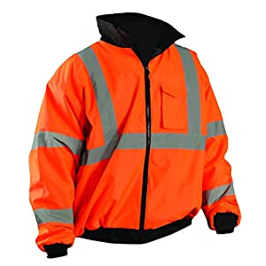 OccuNomix LUX-ETJBJ-OXL High Visibility Fleece Lined Bomber Jacket with Roll-Away Hood and 4 Pockets, Class 3, 100% ANSI Polyester, X-Large, Orange