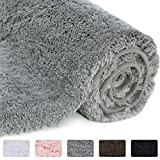 Lifewit Bathroom Rug Bath Mat Non-Slip Rubber Microfiber Soft Water Absorbent Thick Shaggy Floor Mats, Machine Washable, Grey, 32'x20'