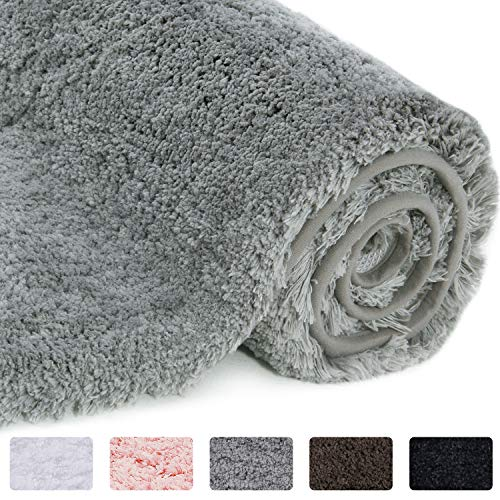 Lifewit Bathroom Rug Bath Mat Non-Slip Rubber Microfiber Soft Water Absorbent Thick Shaggy Floor Mats, Machine Washable, Grey, 32