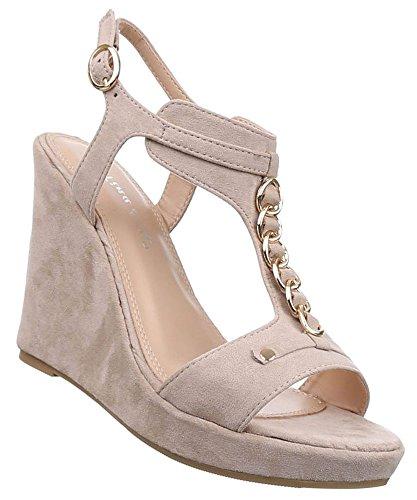 Damen Sandaletten Schuhe Keilabsatz Wedges Plateau Pumps Schwarz Beige Grau 36 37 38 39 40 41 Beige