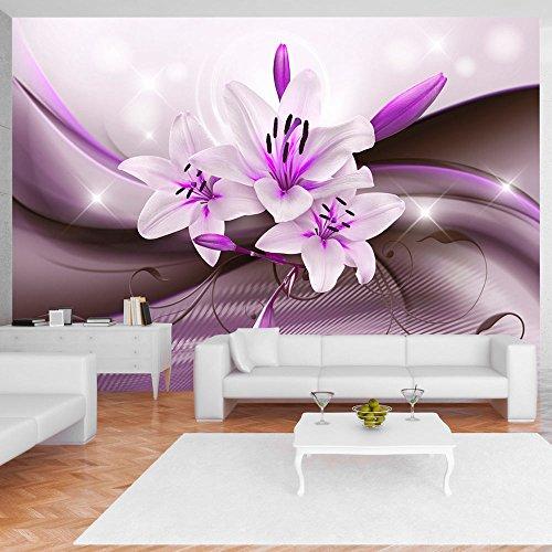 Murando   Fototapete 350x256 Cm   Vlies Tapete   Moderne Wanddeko   Design  Tapete   Wandtapete   Wand Dekoration   Blumen Lilien Blitz Abstrakt Lila  ...