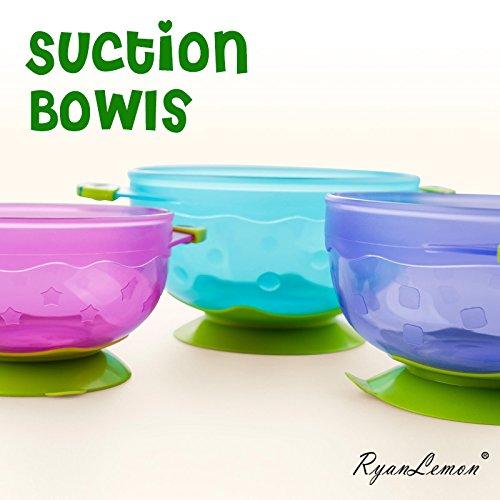 51Afgi0uEeL - Baby Feeding Suction Bowl Silicone Bib Mash Bowl Set Feeding Spoons Blue