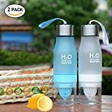 2-in-1 Infuser Water Bottle (2 Pack),CLINE Sport Water bottle 22 Ounce Gym Water Bottle with Fruit Lemon Squeezer,Great for Kids Couples (Blue+White)