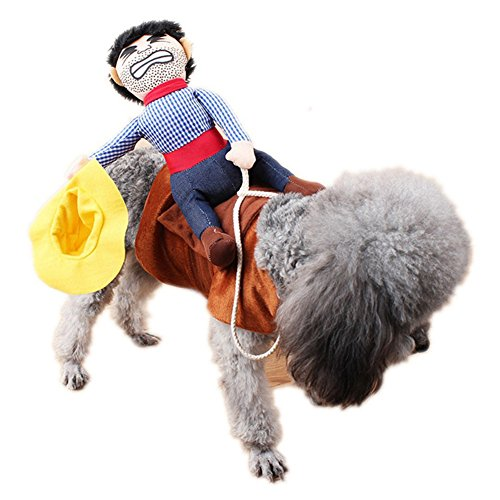 Powerfulline Riding Horse Outfit with Cowboy Hat Dog Pet Coat Halloween Party Costume Clothes -