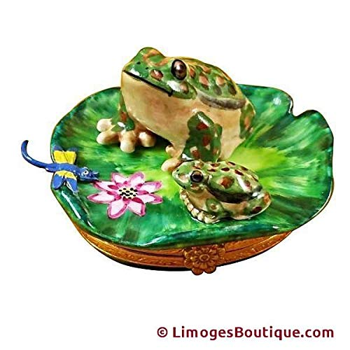 FROG & BABY - LIMOGES BOX AUTHENTIC PORCELAIN FIGURINE FROM FRANCE ()