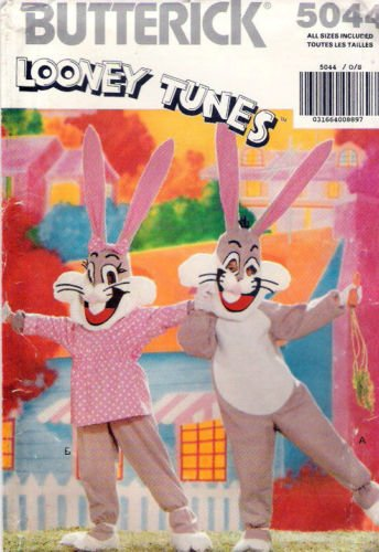 Looney Tunes Licensed Costume Sewing Pattern, Butterick 5044 Looney Tunes Bugs Bunny Child's Sizes S M L Xl or ()