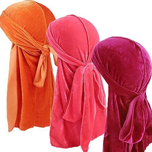 Ababalaya Men 2PCS/3PCS Stretchable Luxury Velvet Long Tail Wide Straps Durag Du-RAG (Group 23(3pcs)) by Ababalaya