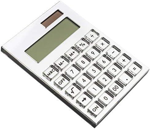 E&O Acrylic Calculator,Solar Power,12 Digits LCD Display,Modern Elegant Desk Accessory,Office Home Electronics,Business Present Ideas (Mirror Silver)……