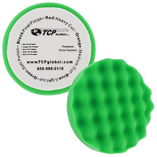 TCP Global 6.5 Green Waffle Soft Polishing Grip Foam Polish Pad - DA Hook & Loop