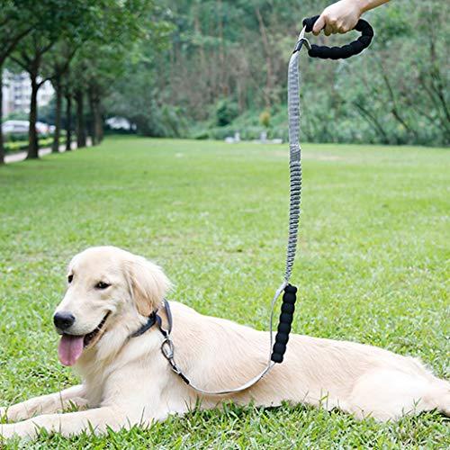 succeedtop Dog Leash - 2 Padded Handles, Dog Training Walking Leashes for Medium Large Dogs,Anti Pull Training Dog Leash Shock Absorbing Pet Leash (Grey)