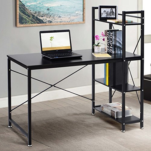 Home Office Bookshelves - TANGKULA Computer Desk Modern Style Writing Study Table with 4 Tier Bookshelves Home Office Compact Multipurpose Workstation(Black)