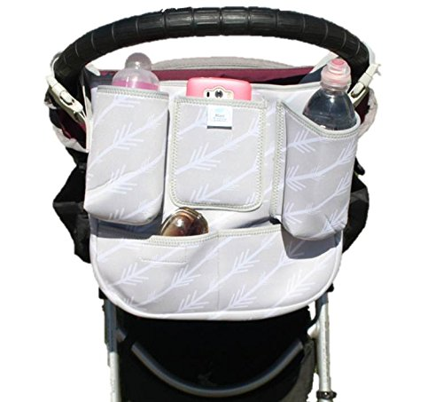 Premium Baby Parent Console By Raz - Universal Detachable Zippered Essentials Bag - Durable Neoprene Construction - 8 Practical  Pockets - Easy Clip Buckle Design - Fits Almost All Strollers