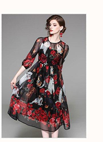 Scoop 4 Neck Dress Dresses Printed Sleeve Women`s Casual 3 cotyledon wF1454