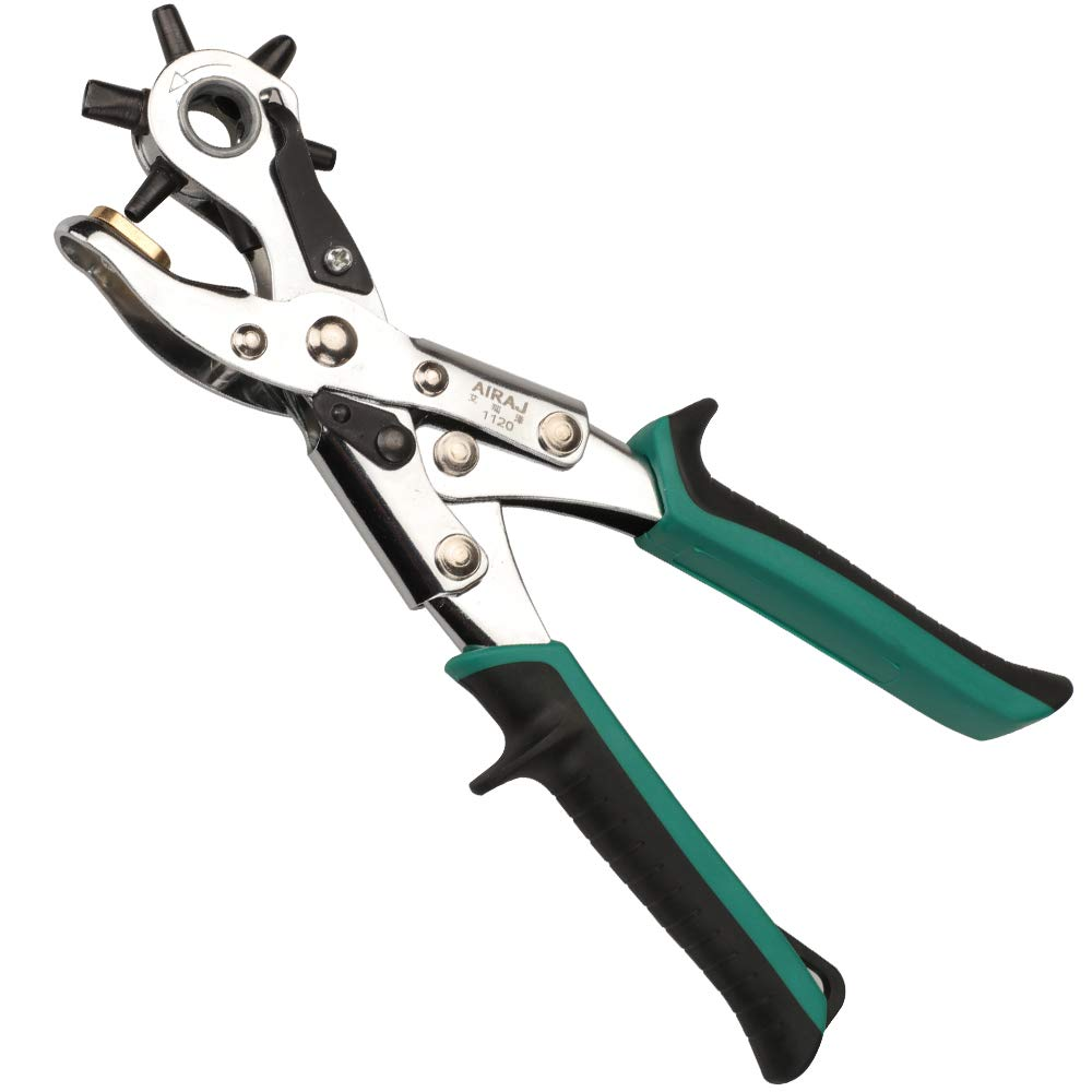 AIRAJ Punch Pliers Leather Belt Hole Punch Plier Revolving Multi Hole for Belts,Fabric,Rubber,Paper, Puncher Craft Maker Piler Tool Punch 6 Round Sizes From 5/64 Inch to 3/16 Inch