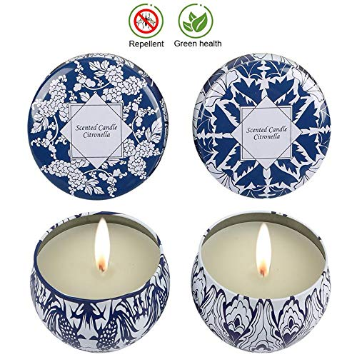 (KitchenGynti Citronella Candles, Scented Travel Outdoor Candles Set,Soy Wax Travel Tins 2.5oz Candle with Citronella, Indoor and Outdoor 4-Pack)