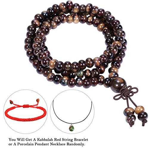 CAT EYE JEWELS 108 Buddhist Prayer Beads bracelet Porcelain Meditation Mala Beads Bracelet Necklace Cognac Cat Eye Bar End