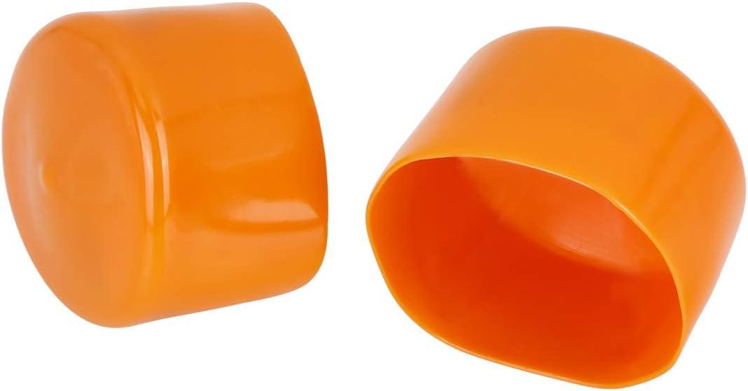X AUTOHAUX 4pcs Screw End Caps 60mm 2.36inch ID Round PVC Bolt Thread Protectors Cover Orange for Car