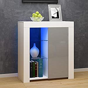Panana Modern LED Cabinet Cupboard Matt Body and High Gloss FrontsSideboard Unit with Multicolor LED Light (Grey)