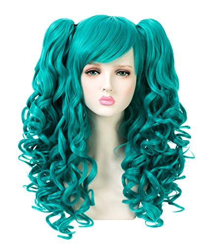 EDENKISS Women Cosplay lolita Clip on Two Ponytails Long Hair Replacement Full Head Wigs (Cyan Green MC137F T5126)]()