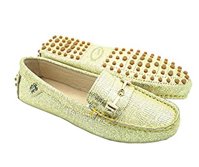 Miyooark Womens Comfortable Slip-on Gold Snake-Print Synthetic Driving Shoes Loafers Moccasin AU 3.5