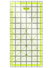 """ARTEZA Quilting Ruler, Laser Cut Acrylic Quilters' Ruler with Patented Double Colored Grid Lines for Easy Precision Cutting, 6"""" Wide x 12"""" Long for Quilting, Sewing & Crafts, Black & Lime Green"""