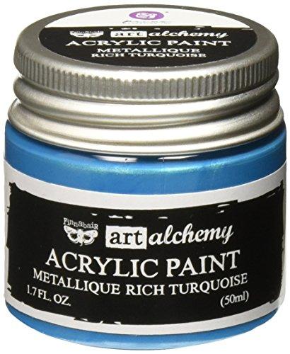 Prima Marketing 963231 Finnabair Art Alchemy Acrylic Paint, 1.7 fl. oz, Metallique Rich Turquoise