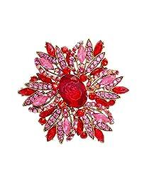 "TTjewelry 3.82"" Gorgeous Flower Large Rhinestone Crystal Brooch Pin"