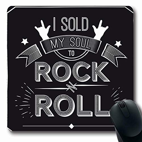 Ahawoso Mousepads Showman Label Quote About Rock Sold My Abstract Sweatshirt Music Old Roll Black Chalk Concert Design Oblong Shape 7.9 x 9.5 Inches Non-Slip Gaming Mouse Pad Rubber Oblong Mat