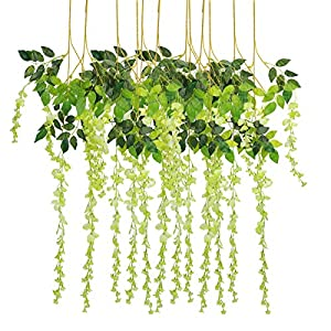 Bomarolan Wisteria Artificial Silk Vine Flowers Fake Hanging Garland for Wedding Arch Backdrop Decor 3 5/8 Feet Pack of 12 Pieces 43