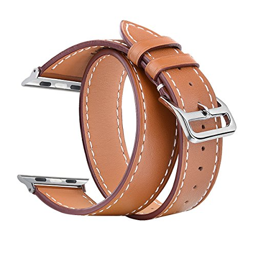 Apple Wrap (V-Moro Apple Watch Bands Women Men, 38mm Double Tour Genuine Leather Smart Watch band Replacement for Apple Watch Series 3/1/2, Sport, Hermes, Nike+, Edition (Double Tour Brown 38mm-Large))