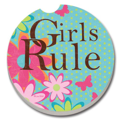 CounterArt Absorbent Stoneware Car Coaster, Girls Rule ()